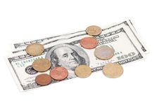 Free Coins Over Bills Royalty Free Stock Photo - 21009285