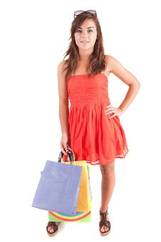 Free Young Woman With Shopping Bags Stock Images - 21009444