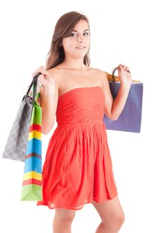 Free Young Woman With Shopping Bags Royalty Free Stock Photos - 21009448