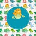 Free Cartoon Dinosaur Card Royalty Free Stock Images - 21011309