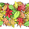 Free Seamless Border With Autumn Leaves Royalty Free Stock Photography - 21013727
