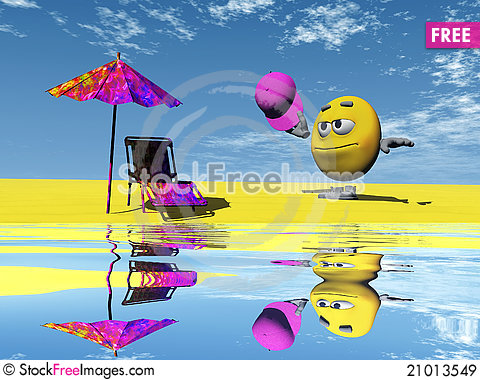 Free Smiley On The Beach Royalty Free Stock Images - 21013549