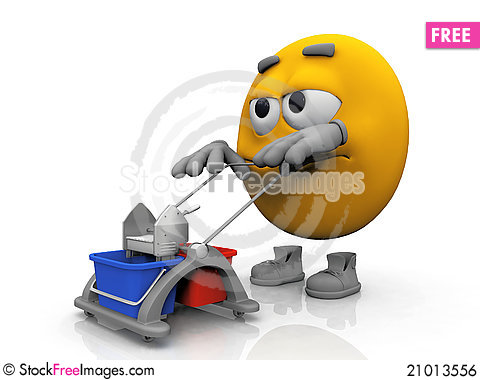 Free Smiley Clean The Floor Royalty Free Stock Image - 21013556