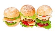 Big Hamburgers Stock Photography