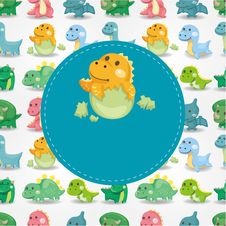 Free Cartoon Dinosaur Card Royalty Free Stock Images - 21011309