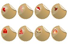 Set Of Different Christmas Stickers Royalty Free Stock Photography