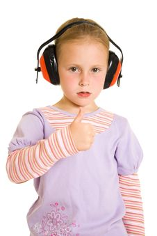 Free Little Girl Listening To Music Royalty Free Stock Photo - 21011765