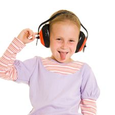 Free Little Girl Listening To Music Stock Photography - 21011772