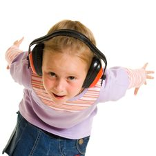 Free Little Girl Listening To Music Royalty Free Stock Image - 21011786
