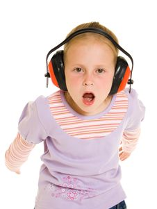 Free Little Girl Listening To Music Royalty Free Stock Image - 21011796