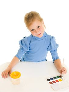 Girl With Paint. Stock Photo