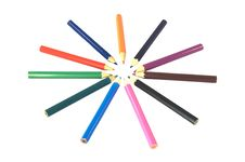 Free Coloured Pencils In A Circle Royalty Free Stock Photo - 21011945