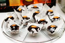 Mini Muffins With Chocolate Royalty Free Stock Image