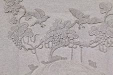 Free Bird Carved On Stone Wall In Chinese Temple Royalty Free Stock Photos - 21013288