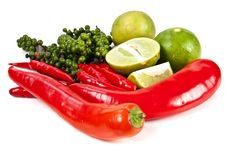 Free Chili Peppercone And Lime Food Ingredient Royalty Free Stock Image - 21013416