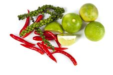 Free Chili Peppercone And Lime Food Ingredient Stock Photos - 21013443