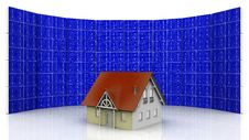 House And Solar Cell Stock Photography