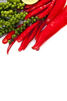Chili Peppercone And Lime Food Ingredient Royalty Free Stock Photos