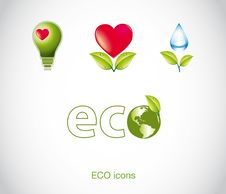 Free Set Of Green Ecology Icons. Royalty Free Stock Photography - 21013837