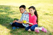 The Boy With The Girl Play Sitting On A Grass Royalty Free Stock Image