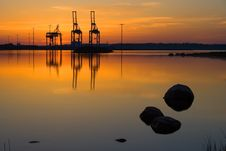 Free Harbor Cranes In Port Of Helsinki Royalty Free Stock Photos - 21014978