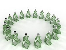 Free Glass Bottles Of Green Glass №2 Royalty Free Stock Photos - 21015248
