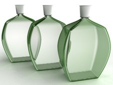 Free Three Glass Bottles Of Green Glass №1 Stock Image - 21015271