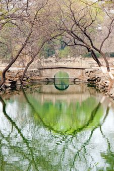 Stone Arch Bridge Reflection In Pond Royalty Free Stock Photos