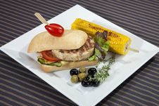 Sandwich W Meat Grilled Corn And Aubergine Royalty Free Stock Image