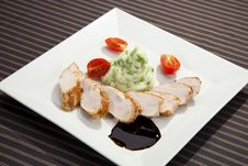 Free Pork Tenderloin W Potato Puree With Peas Stock Images - 21017084