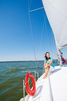 Free Young Girl Sitting On A Yacht Royalty Free Stock Photos - 21019648