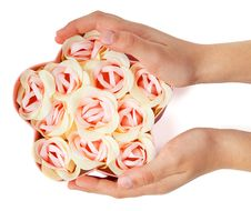 Free Flower Shaped Box With Flowers In Girl Hands Stock Image - 21019901