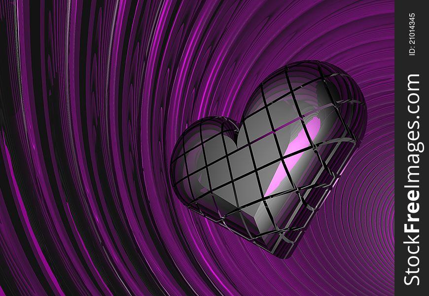 3D lilac love heart