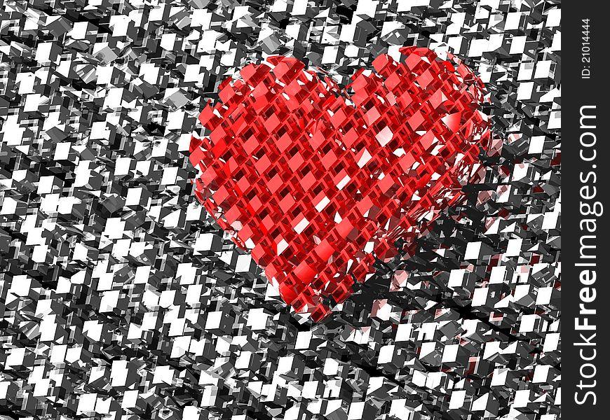 3D red brick love heart