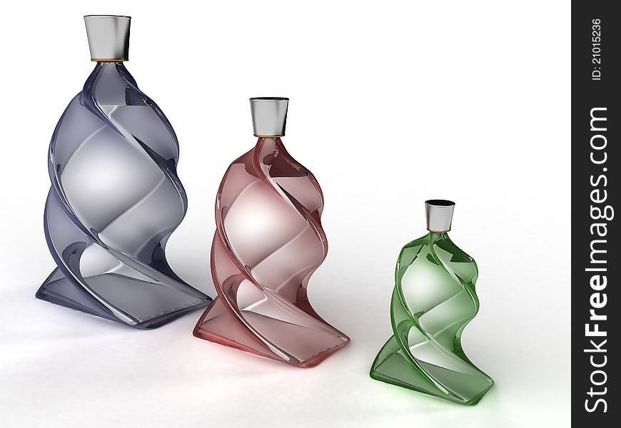 Three twisted glass bottle glass №2