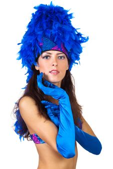 Girl In A Hat With Feathers Royalty Free Stock Images