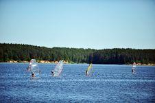 Free Windsurfers On  Sea. Stock Image - 21021771