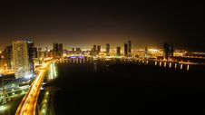 Free Night Seen Of Sharjah City On A Lake Royalty Free Stock Images - 21021989