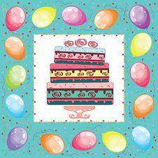 Free Square Birthday Card. Royalty Free Stock Photos - 21022728