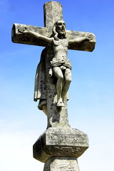 Old Cross, And Christ In Sky. Royalty Free Stock Images