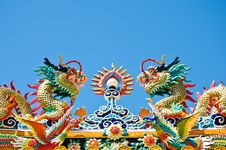 Free Dragon Style Chinese On Blue Sky , Lopburi , Thail Royalty Free Stock Photography - 21023227