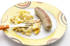 Free Noodle Salad With Fried Sausage Stock Image - 21023471