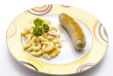 Free Noodle Salad With Curry Fried Sausage Stock Image - 21023621