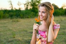 Sweet Young Woman Enjoying At The Park Stock Photo