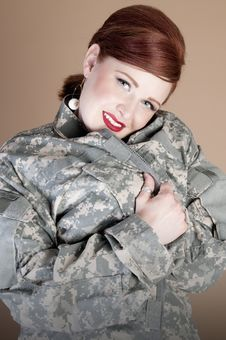 Free Gorgeous Woman Wearing Military Jacket Royalty Free Stock Photo - 21024655