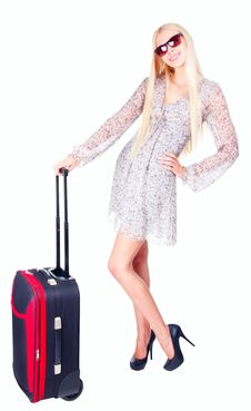 Free Beautiful Girl With A Travel Bag Stock Photos - 21025593