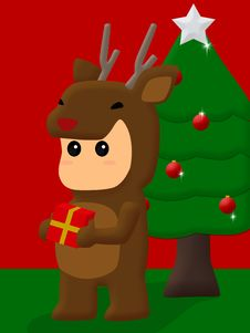 Free Small Deer With Christmas Gifts Royalty Free Stock Images - 21026609