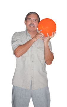 Free Senior Man Holding Bowling Ball Isolated Stock Images - 21026754