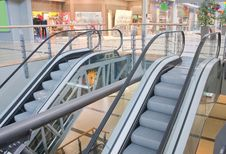 Free Two Escalators In Trade Center Stock Photography - 21026762