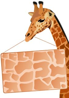 Giraffe With A Banner Ad Stock Photo